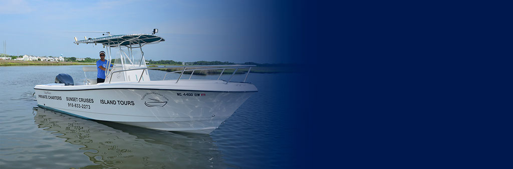 Captain in Surf City on Topsail Boat Rental 22 Foot Edgewater Tour Boat